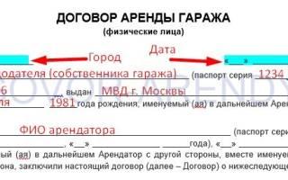 Бланк договора аренды машиноместа между физическими лицами